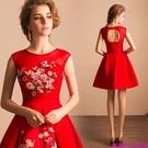 (45 Design)  客製化顏色尺寸領新娘長款婚紗晚宴年會演出主持人禮服19