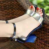 粗跟涼鞋 新款一字扣粗跟涼鞋女夏中跟性感大尺碼露趾百搭小清新高跟鞋女
