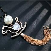 鑲鑽項鍊-甜美木馬生日母親節禮物女毛衣鍊2色73fv193【時尚巴黎】