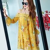 現貨黃色L雪紡洋裝連身裙吊帶29680