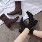 襪靴 針織 襪靴 瘦瘦靴 踝靴 中跟靴子 馬丁靴 短靴 粗跟