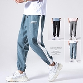 休閒褲 夏季褲子男士韓版潮流2021新款束腳寬鬆運動籃球工裝針織休閒長褲
