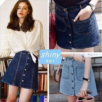 【V0503】shiny藍格子-獨特打造.顯瘦一排釦高腰A字牛仔短裙