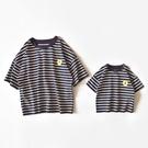 寬鬆款黑細條紋休閒短袖T恤親子裝2020夏季一家三口全家裝外出服 草莓妞妞