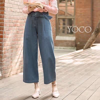 東京著衣【YOCO】時髦美人附腰帶牛仔寬管褲-S.M.L(171907)