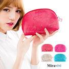 【Disney】貝殼造型精緻壓紋化妝包/收納包-公主款