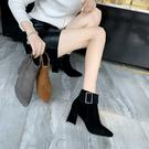 粗跟短靴女春秋單靴2019秋季新款靴子秋款尖頭中跟高跟網紅瘦瘦靴