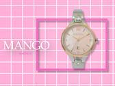 【時間道】MANGO時尚簡約仕女腕錶 / 玫瑰金框粉紅貝殼面鋼帶(MA6723L-11)免運費