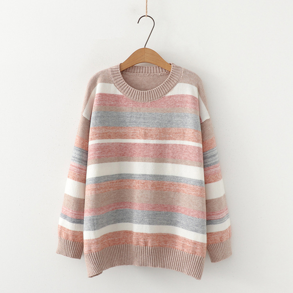 日系森女簡約寬鬆圓領彩色條紋毛衣(2色F碼)*OREAD*
