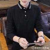 春秋季長袖T恤男士襯衫領韓版Polo衫潮流翻領打底衫男裝有領上衣  圖拉斯3C百貨