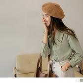 純色質感壓褶長袖襯衫上衣 OrangeBear《AB16386》