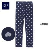 Gap女嬰幼童 印花寶寶針織內搭褲 兒童彈力緊身褲子 375466-心形圖案