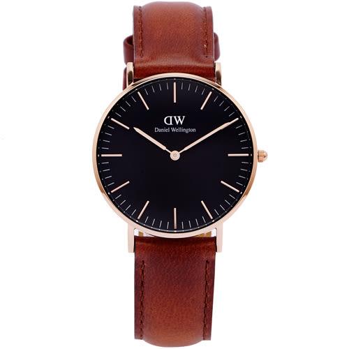 DW Daniel Wellington經典Mawes手錶(DW00100136)-黑面x咖啡色/36mm