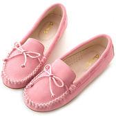 amai舒適升級。磨砂牛皮蝴蝶結綁帶豆豆鞋 粉