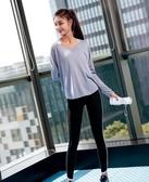 健身房運動上衣女速干t恤網紅瑜伽服新款運動長袖寬鬆跑步罩衫秋 居享優品