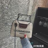 港風包包2019女新款撞色字母貝殼包復古單肩手提小包斜挎鏈條女包