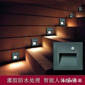 220v 86型戶外防水人體感應地腳燈嵌入式led墻角燈室外樓梯臺階踏步燈 js11384『miss洛羽』