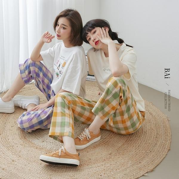 日系麻棉格紋鬆緊寬褲M-L號-BAi白媽媽【310668】
