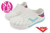 PONY水鞋 男女款 台灣製 ENJOY色彩幾何 休閒 便鞋 情侶鞋J9496#白色◆OSOME奧森童鞋/小朋友 零碼出清