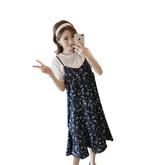 孕婦夏裝2018新款碎花吊帶連身裙中長款兩件套夏季短袖雪紡哺乳裙