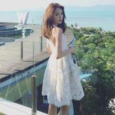 夏季新款女裝小清新性感無袖白色蕾絲露背掛脖洋裝 【四月上新】