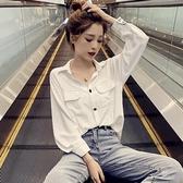 長袖襯衫雪紡襯衫女春秋長袖設計感法國小眾網紅心機復古洋氣上衣 新品