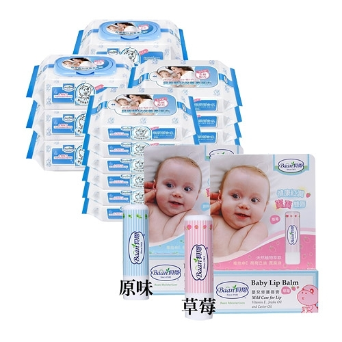 【奇買親子購物網】貝恩嬰兒保養柔濕巾80抽6入+20抽12入+ 贈貝恩嬰兒修護唇膏5g*1(口味隨機出貨)