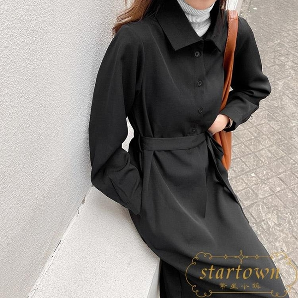 長袖連身裙秋冬寬鬆休閒長裙收腰顯瘦氣質裙子【繁星小鎮】
