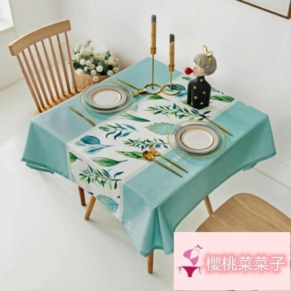 免洗防燙正方形餐桌布桌墊布藝桌布防水防油【櫻桃菜菜子】