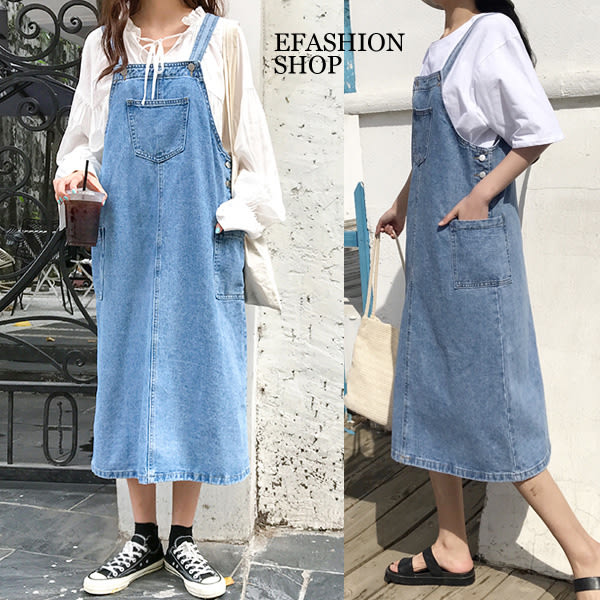 兩側口袋牛仔吊帶長裙-eFashion 預【H16512023】
