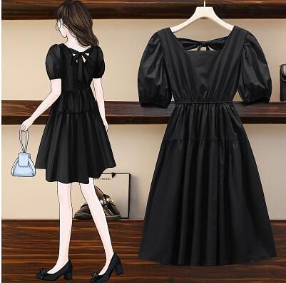 L-4XL胖妹妹大碼洋裝連身裙~短袖連身裙胖mm時尚韓版中長款連身裙6040.1F080愛尚布衣