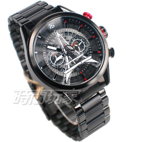 T5 sports time 巴黎鐵塔 三眼計時碼表 個性 型男 防水手錶 日期視窗 男錶 IP黑電鍍 H3664G紅黑