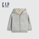 Gap女幼童 Logo仿羊羔絨連帽外套 594192-灰色