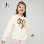 Gap女童 碳素軟磨系列 法式圈織翻轉亮片圓領休閒上衣 823877-象牙白