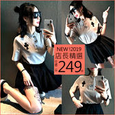 克妹Ke-Mei【AT53451】歐美辛辣龐克十字架開襟上衣+褲裙套裝