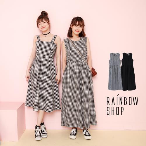 韓版後拉鍊背心連身寬褲-H-Rainbow【A402192】