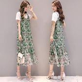 吊帶洋裝韓版荷葉邊裙碎花雪紡長裙兩件套裙子潮 『歐韓流行館』