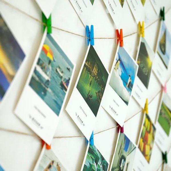 明信片照片夾子麻繩相片牆懸掛創意無痕釘個性少女房間照片牆裝飾