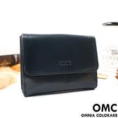 OMC - 原皮魅力真皮系列三折式6卡1照中夾 - 星辰藍