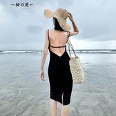 韓國夜店性感女裝小心機漏背連身裙泰國海邊度假沙灘裙吊帶長裙夏【櫻花本鋪】