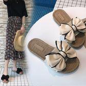 室內拖鞋新品沙灘拖鞋女夏蝴蝶結厚底一字拖平底防滑時尚外穿海邊度假涼拖(限時八八折)