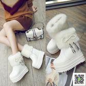 短靴 棉鞋子女超高跟短靴雪地棉靴毛毛女靴內增高厚底白色保暖加絨冬靴 生活主義