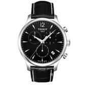 TISSOT 天梭 三眼計時石英手錶 T0636171605700 黑面/42mm