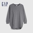 Gap女裝 簡約純色寬鬆式圓領長袖T恤 656452-灰色