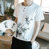 2018新款夏季棉麻T恤中國風男裝寬鬆大碼亞麻短袖復古衣服韓版 藍嵐