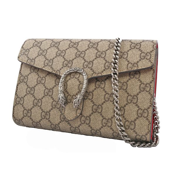 【GUCCI】Dionysus GG Supreme chain wallet酒神鍊包(咖啡/紅) 401231 KHNSN 8698