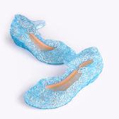 女童涼鞋 冰雪奇緣艾莎鞋子女童涼鞋愛莎灰姑娘水晶鞋