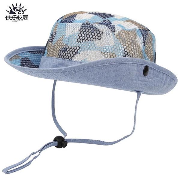 兒童網眼牛仔帽寶寶透氣漁夫帽子男童遮陽太陽帽【聚寶屋】