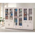 【森可家居】刷白栓木8尺書櫃組 8SB240-2 玻璃書櫥 木紋質感 北歐風 MIT 台灣製造