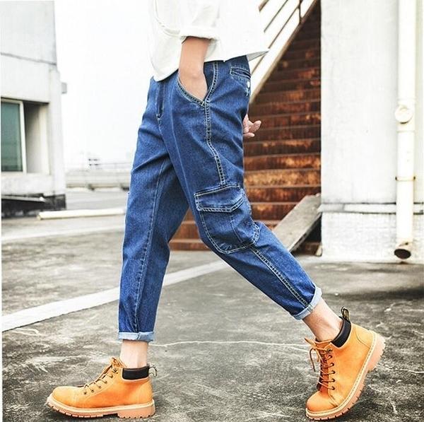FINDSENSE品牌 時尚潮流 日系 男 多口袋 寬鬆 加肥加大 大尺碼 九分